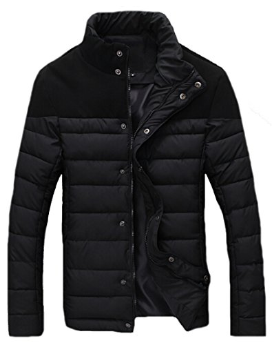 Casual Jackets Collar Down Stand EKU xl Stitching black Coats Zipper Mens wqa5Unx0B