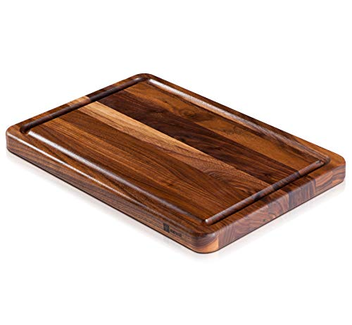 Large Walnut Wood Butcher Block & Cutting Board by Mevell - 18x12 with Juice Drip Groove, Big American Hardwood Chopping and Carving Countertop Block (Walnut, 18x12x1.25)