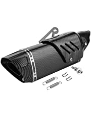 Motorcycle Exhaust Pipe,Motorcycle Exhaust Pipe Muffler Tailpipe Carbon Fiber Style W/Cover Fit Compatible with Kwi Z750 Z900 Z800