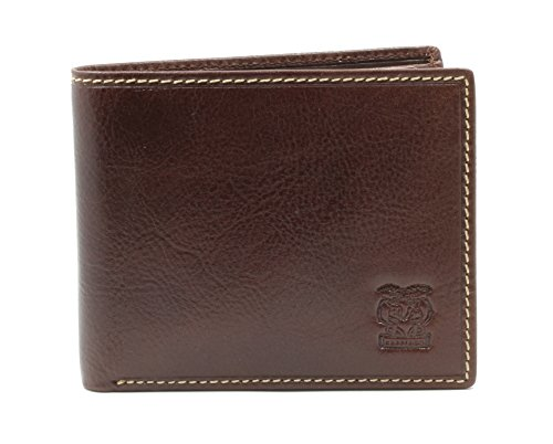 CAPPIANO Gents Ultra Slim Genuine Leather Bifold Wallet Credit Card Holder with Flip Out ID Holder - Coganc