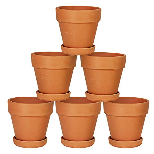 Terra Cotta Pots with Saucer- 6-Pack 4'' Clay Ceramic Potter