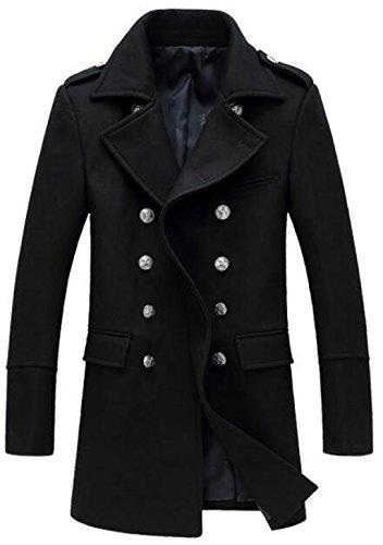 7b4f7f7e3ca Delgado Abrigo Chaqueta Largo Mantel Outwear Herren Escudo Winterjacke  Hombre Black Invierno De vwxaB