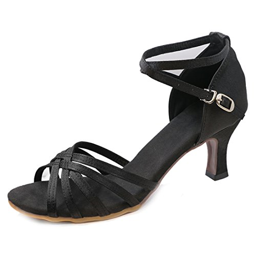Women's Professional Latin Dance Shoes Satin Salsa Ballroom Wedding Dancing Shoes 2.4'' Heel Black