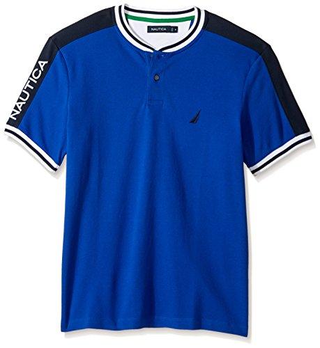 Nautica Men's Short Sleeve Classic Fit Henley Shirt, Bright Cobalt, Small