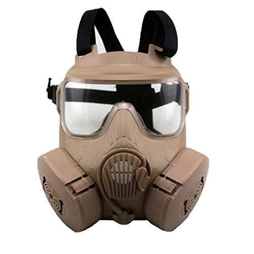 WOLFBUSH Airsoft Mask Tactical Gas Mask M50 Paintball Full Face Mask with 2 Breathable Fans for CS/Wargame/Airsoft/Paintball/Christmas