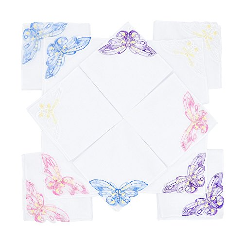 Butterfly Handkerchief - Selected Hanky Women's/Ladies Cotton Handkerchiefs with Assorted Butterfly Lace at Corner 12 Pieces Set