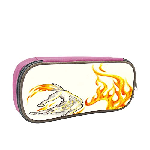 Flame Running Wolf Large Capacity Dirty and Waterproof Multi-Layer Pencil Case Pink -