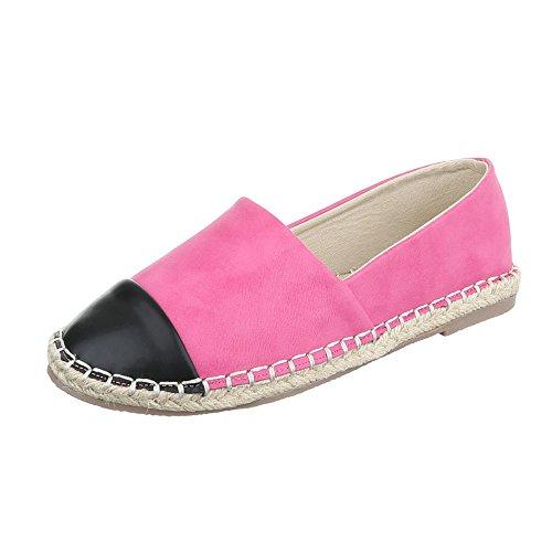 Ital-Design Slipper Damenschuhe Low-Top Blockabsatz Moderne Halbschuhe Pink