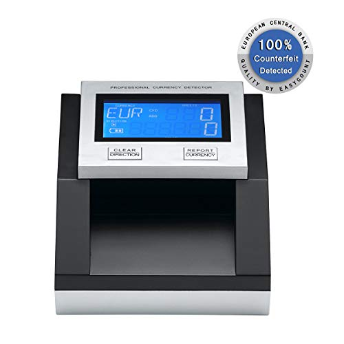 100% Accurately money Detector EC350 Professional Multi Counterfeit Money Detector for USD+EUR+GBP Portable UV Detection Financial Equipment Bill Currency Detector ECB Tested (Without Battery) …