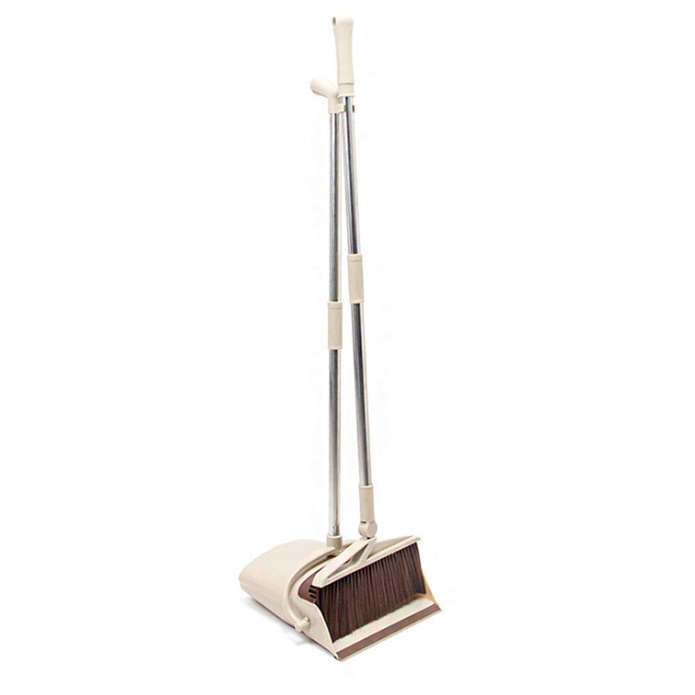YJIUJIU Extendable Broom and Dustpan Set, Durable & Light Weight Broom and Dust pan Combo with Long Handle, Ideal for Kitchen, Home and Lobby Floor Use