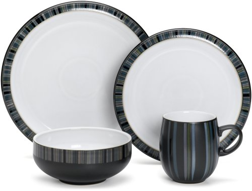 Denby Jet Stripes 4-Piece Place Setting, Service for 1 (Setting Blue Piece 4 Place)