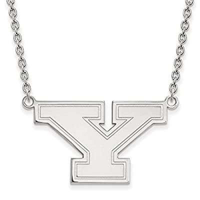 925 Sterling Silver Rhodium-plated Laser-cut Youngstown State University Large Pendant w/Necklace 18""