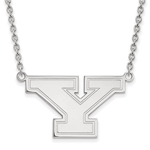 925 Sterling Silver Rhodium-plated Laser-cut Youngstown State University Large Pendant w/Necklace 18