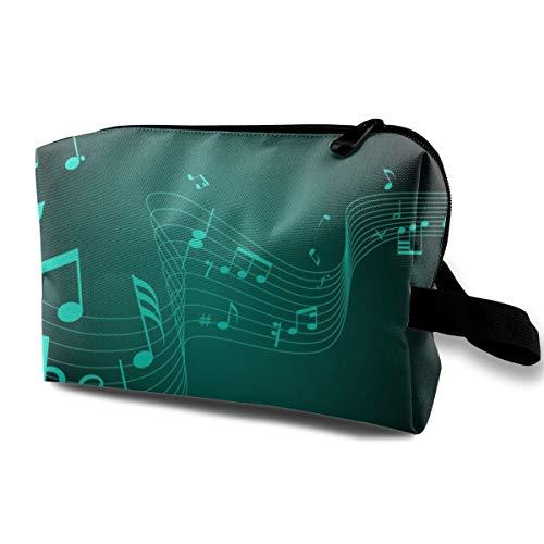 With Wristlet Cosmetic Bags Music Notation-Music-Wallpaper-HD-1080p-42 Travel Portable Makeup Bag Zipper Wallet Hangbag