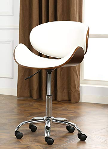 Roundhill Furniture Soglio Modern Faux Leather Height Adjustable Swivel Office Chair, White
