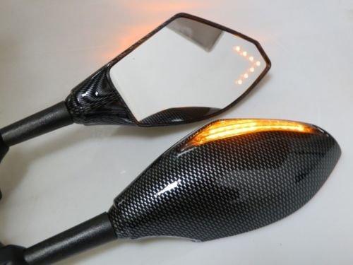 Moto universel Carbone Miroir W/flè che de tour de signal pour Suzuki GSXR 600 750 1000 1300 Yamaha YZF R1 R6 R6s Fazer FZR 600 Kawasaki Ninja 250R 500R 650R Zx10r Honda CBR 600 1000 RR F4i 600rr