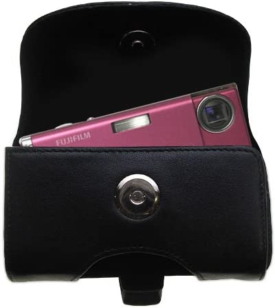 Gomadic Belt Mounted Leather Case Custom Designed for The Fujifilm FinePix Z5fd Black Color with Removable Clip