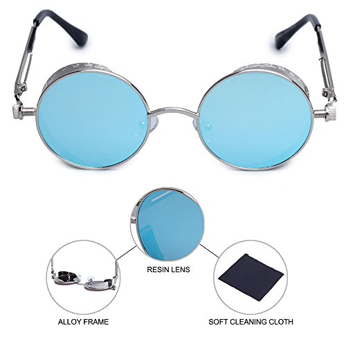 femmes inspiré Bleu Punk étui lunette de de Lunettes Cercle Vapor hommes à soleil Lunettes en pour soleil de Style métal lunette avec ronde avec Chasingdream qxapCSZw