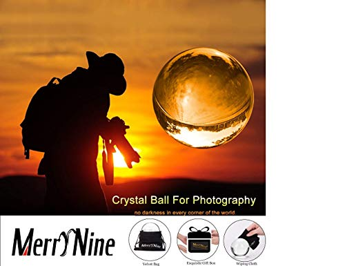 Photo Holding Ball - MerryNine Professional Photography Crystal Ball, K9 Crystal Glass Ball with Pouch (70mm, K9, with Pouch)