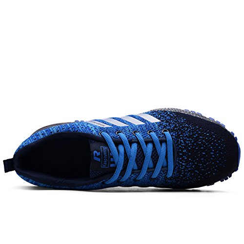 Athletic Sports Trainers Outdoors Gym Knit Shoes Running Sneakers Causal Shoes Blue Men's Walking Lightweight HONGANG wnxR8qYgq