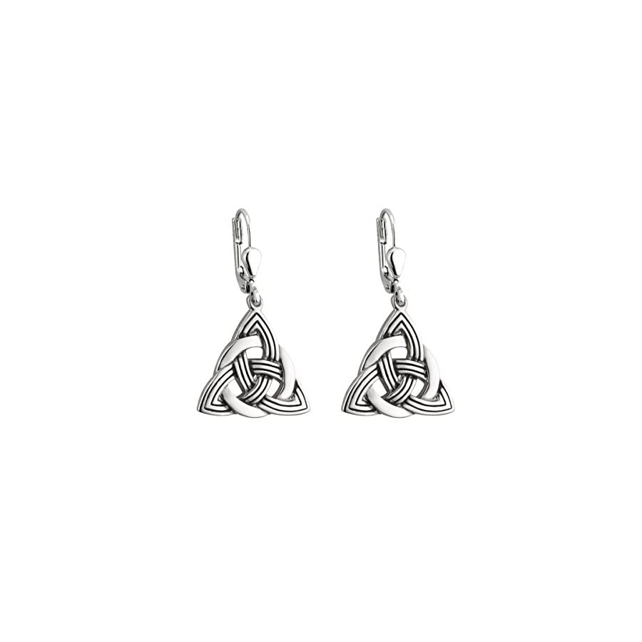Trinity Knot Earrings Celtic Knot Irish Drop Rhodium Plated Made in Ireland