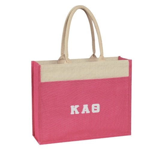 CollegeFanGear Kappa Alpha Theta Poppy Jute Tote With Front Pocket 'Greek Letters Rainbow Silver White Glitter'