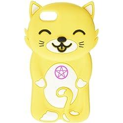 JUJEO 3D de Gato Estilo Estuche de Silicona para iPhone 5/5S - Non-empaque de fábrica - Amarillo
