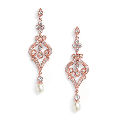 (Mariell Vintage Cubic Zirconia and Rose Gold Bridal Earrings with Genuine Freshwater Pearl Drops )
