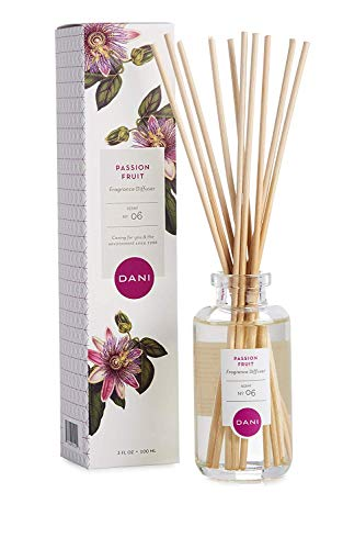 (Natural Reed Diffuser Set by DANI Naturals - Juicy Passion Fruit Fragrance - Aromatherapy Essentials Oils - Alcohol Free - 10 Diffuser Sticks - 3.5 Ounce Glass Bottle)