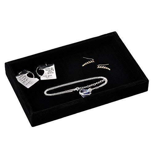 (Yerwal Jewelry Tray, Velvet Jewelry Tray Showcase Display Organizer for Ring Earring Necklace Pendants Bracelet (Black#1))