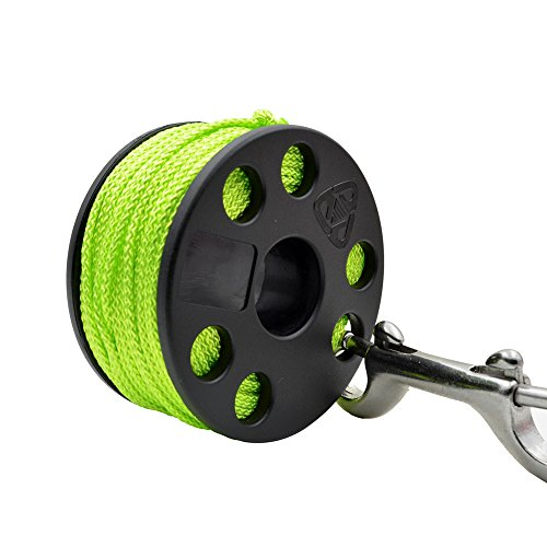 EZDIVE Finger Spool with Marine Grade Stainless Steel Double Ended Snap 6 Colors (Steel Finger)