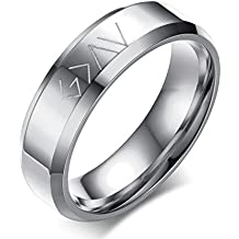 XUANPAI Great God Engraved Christian Stainless Steel Engagement Promise Wedding Ring,Gold/Black/Sliver
