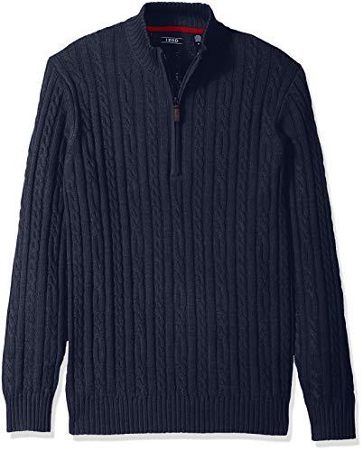 IZOD Men's Premium Essentials Solid Quarter Zip 7 Gauge Cable Knit Sweater, New Peacoat, X-Large (Sweater Cashmere Quarter Zip)