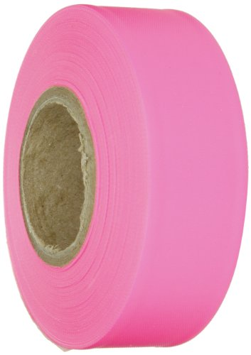Brady Flourescent Pink Flagging Tape for Boundaries and Hazardous Areas - Non-Adhesive Tape, 1.188 Width, 150 Length (Pack of 1) - 58354