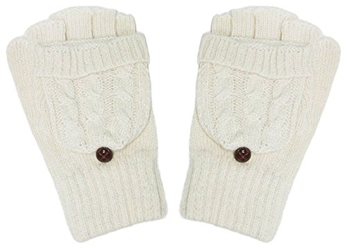 More Luck Wool Gloves Winter Warm Knitted Convertible Fingerless Gloves with Mittens Cover for Women