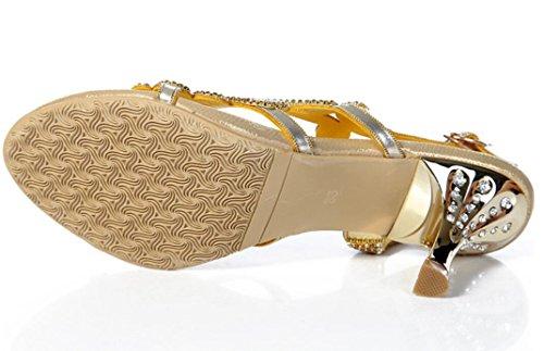 Partido Hueco El Alto Oro Los Metal 38 Talón Rhinestones Lujo Estilo Verano Gold Romano 8cm 36 Del De Heel Banquete Xie Sandalias Goldfineheel Señoras fine Las q7ZZw8