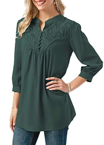 Anlarhh Women's Notch Neck 3/4 Sleeve Front Button Chiffon Floral Lace Patchwork Loose Fit Tunic Blouses Tops Size M Green - Button Front 3/4 Length Coat
