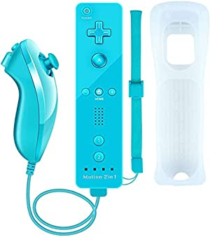 Wii Motion Plus Controller,Uniway Wireless Wii Remote Controller and Nunchuck Joystick with Build-in Motion Plus Silicone Case and Wrist Strap for Nintendo Wii/Wii U -Bule
