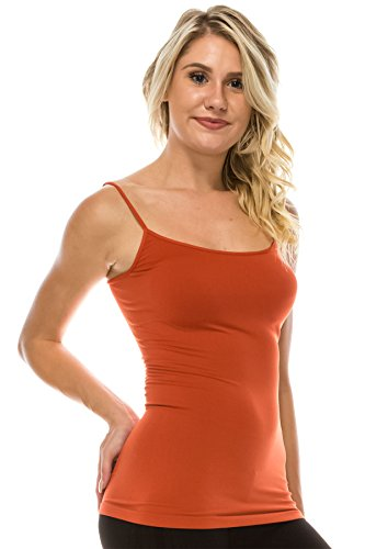Kurve American Made Basic Seamless Cami, UV Protective Fabric UPF 50+ (Made with Love in The USA), Auburn, X-Small / Medium