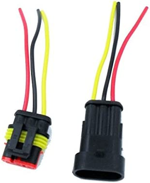 HIGHROCK 5 KIT 3 PIN WAY CAR WATERPROOF ELECTRICAL CONNECTOR PLUG WITH WIRE AWG MARINE