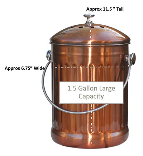 Kitchen Compost Pail Bin for Countertop - Large Capacity 1.5 Gallon Food Scrap Container, Leak proof Copper Coated Stainless Steel - Includes 1 Year of Charcoal Filters & Compost Bags by Gardenatomy (Image #6)