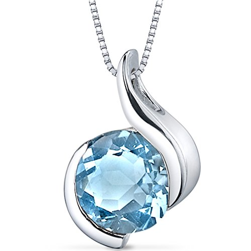Swiss Blue Topaz Bezel Pendant Necklace Sterling Silver Rhodium Nickel Finish 2.25 Carats (Pendant Topaz Sterling)