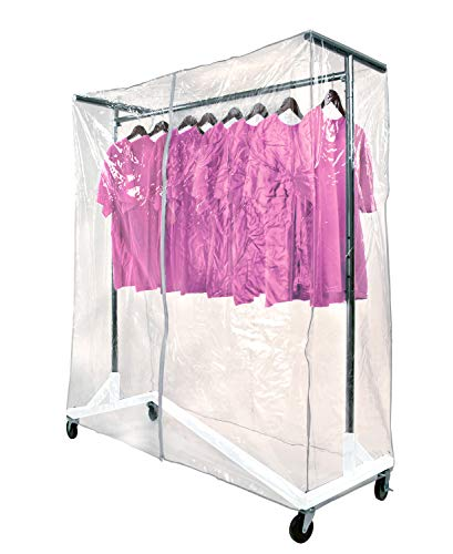Grade Vinyl Commercial - Only Hangers Commercial Grade Garment Z-Rack with White Base. Includes Cover Supports & Clear Vinyl Cover