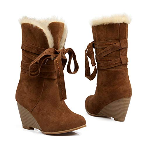 a44c8bf84f201 DETAIWIN Womens Fleece Lined Mid Calf Boots Winter Warm Low Hidden Heel  Wedge Trim Flat Lace Up Snow Boots