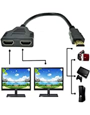 HDMI Cable - HDMI Splitter 1 in 2 Out/HDMI Splitter Adapter Cable HDMI Male to Dual HDMI Female 1 to 2 Way, Support Two TVs at The Same Time, Signal One in, Two Out by ZDHSOY