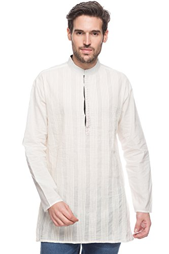 Shatranj Men's Indian Mid-length Kurta Tunic Banded Collar Solid Shirt With Pin-tucks; Off-white; SM by Shatranj