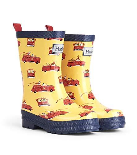 Hatley Boys' Printed Rain Boots Raincoat, Vintage Fire Trucks, 9 US Child