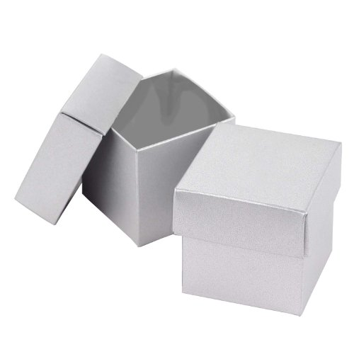 Hortense B. Hewitt Wedding Accessories 2-Piece Favor Boxes, Silver Shimmer, Pack of 25 (Boxes Two Piece Favor)