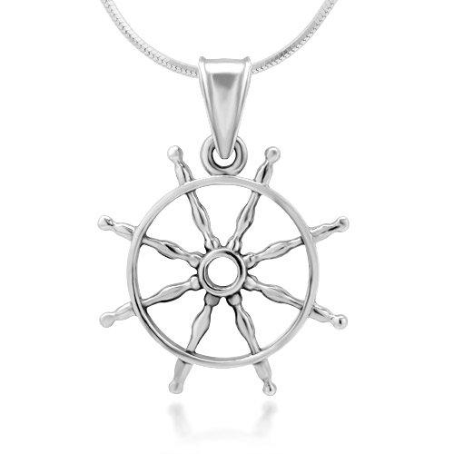 925 Sterling Silver Navy Sailor Ship Wheel Open Seas Pendant Necklace, 18 inches (Pendant Wheel)