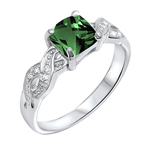Blue Apple Co. Solitaire Infinity Shank Ring Simulated Green Emerald Princess Cut & Round Cubic Zirconia 925 Sterling Silver, Size - 7